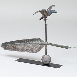 Copper and Metal Eagle & Feather Quill Weathervane