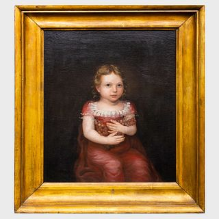 American School: Portrait of a Child Holding Grapes