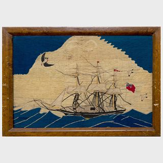 English Woolwork Picture of a Ship with Seagulls