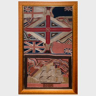 Large English Woolwork Picture of a Union Jack and a Ship, dated 1846