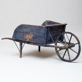 American Blue Painted Wood Wheel Barrow