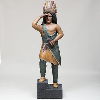 Painted Wood Model of a Native American Chief