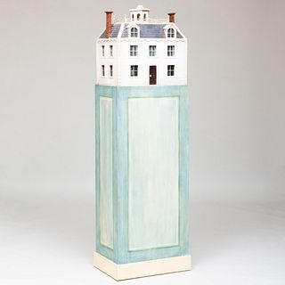 Painted Wood Model of a House on Pedestal