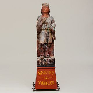 American Polychrome Painted Native American Figure on a Plinth