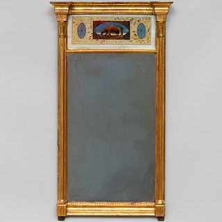 Federal Giltwood and Verre Églomisè Looking Glass, New England