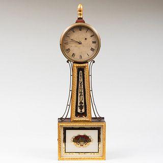 Federal Mahogany and Verre Églomisè Banjo Clock