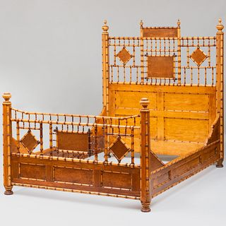 Faux Bamboo and Bird's Eye Maple Bed, Attributed to R. J. Horner