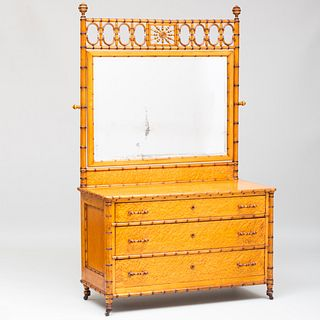 Faux Bamboo and Bird's Eye Maple Chest of Drawers with Mirror, Attributed to J. R. Horner
