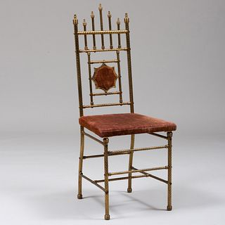 Aesthetic Movement Brass and Upholstered Side Chair, Attributed to W.T. Mersereau & Co.