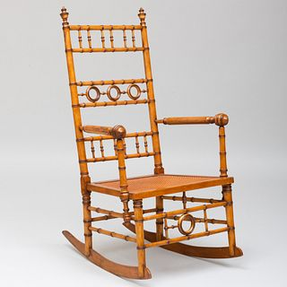 Faux Bamboo and Caned Rocking Chair, Attributed to R. J. Horner & Co.