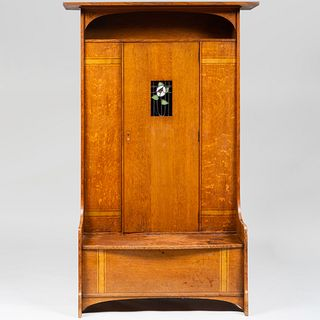 Scottish Arts & Crafts Oak Hall Cupboard with Leaded Glass Panel by Earnest Archibald Taylor for Wylie & Lockhead, Glasgow