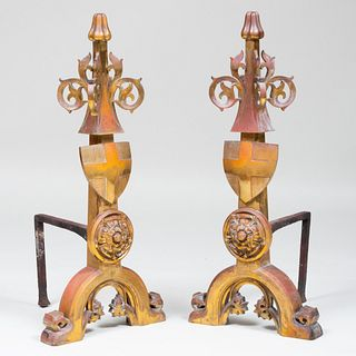 Pair of Large Neo-Gothic Brass Andirons