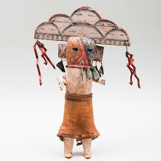 Hopi Painted Wood and Hide Rain Cloud Kachina Doll