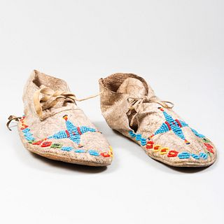 Small Pair of Native American Indian Beaded Hide Moccasins