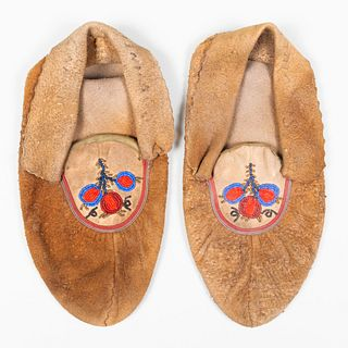Pair of Native American Beadwork and Hide Moccasins