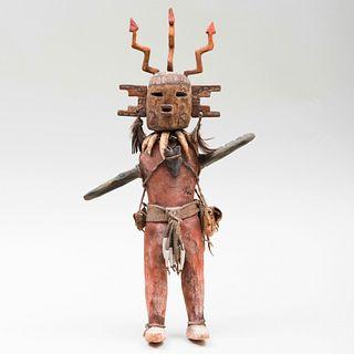 Hopi Painted Wood and Hide Zig-Zag Lightening Kachina Doll