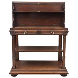 APARADOR. FRANCIA, SXX. Estilo ENRIQUE II. Elaborado en madera de nogal. Con cubierta rectangular abatible, 2 cajones.