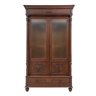 LIBRERO. FRANCIA, SXX. Estilo ENRIQUE II. Elaborado en madera de roble. Con 2 puertas con vidrio, fustes compuestos. | BOOKCASE. FRANCE, 20TH CENTURY.