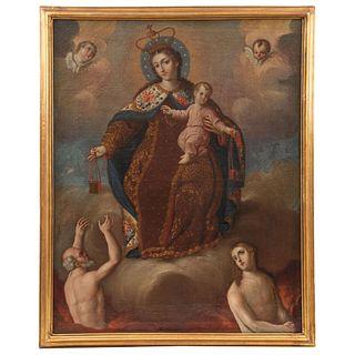 VIRGEN DEL CARMEN MÉXICO, SIGLO XVIII Óleo sobre tela Detalles de conservación. Repintes 100 x 80 cm | VIRGEN DEL CARMEN MEXICO, 18th CENTURY Oil on c