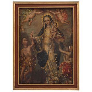 VIRGEN DE LA LUZ ANÓNIMO, MÉXICO, SIGLO XVIII Óleo y brocateado dorado sobre tela Detalles de conservación. | VIRGEN DE LA LUZ ANONYMOUS, MEXICO, 18th