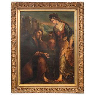 "JESÚS EN LA NORIA DE JACOB MÉXICO, SIGLO XIX 104 x 77 cm Restaurado | JESÚS EN LA NORIA DE JACOB MEXICO, 19TH CENTURY 40.9 x 30.3"" (104 x 77 cm) Resto"