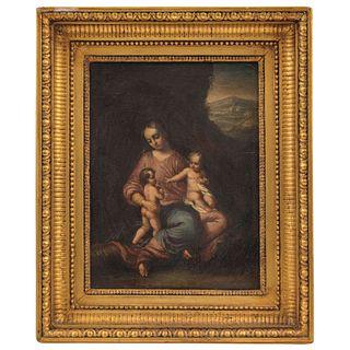 A LA MANERA DE ANTONIO ALLEGRI CORREGGIO (1493-1534) LA VIRGEN, EL NIÑO Y SAN JUAN SIGLO, XIX Oleo sobre tela 35 x 26.5 cm | IN MANNER OF ANTONIO ALLE