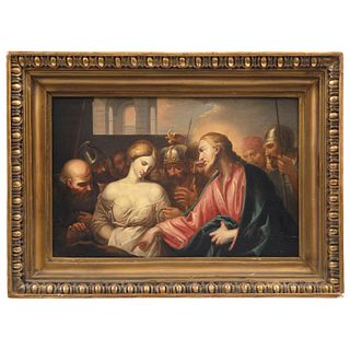JESÚS Y LA ADÚLTERA Firmado Pellegrini Óleo sobre tela Detalles de conservación 33 x 56 cm | JESÚS Y LA ADÚLTERA Signed Pellegrini Oil on canvas Conse