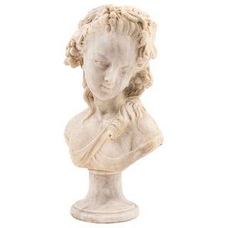 BUSTO DE DAMA SIGLO XX Talla en alabastro. Incluye base de mármol Firmado: E. Ornelas Detalles de conservación: lascaduras 42 cm