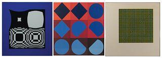 """Victor Vasarely - Three Works: 1] """"TAU-CETI"""" 1967 2] """"Japet"""" 1971 3] """"Arany"""" 1966"""