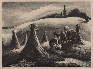 """Thomas Hart Benton - """"Loading Corn (Shucking Corn)"""" 1945"""