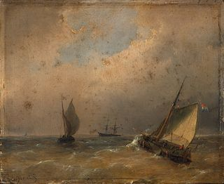 Andreas Schelfhout - A Coastal Scene with Flat-Bottomed Boats in the Breakers and a Two-Master in the Distance c. 1840-1850
