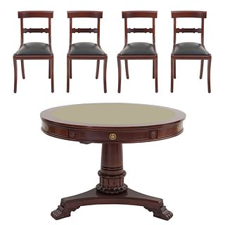 Mesa de juego con 4 sillas. SXX. Elaborados en madera. Consta de: Mesa. Con cubierta circular, 6 cajones con tiradores.