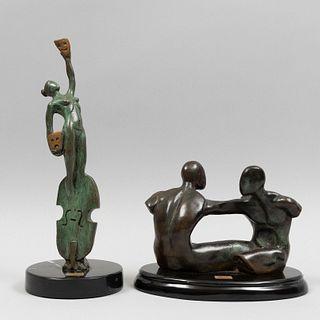 JORGE COSTE. Lote de 2 esculturas. Firmadas. Fundición en bronce. Bases en color negro, una de mármol. Una P.A. y otra seriada 7/20.