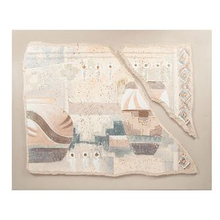 E. LEO. Sin título. Mixta sobre tela. Sin enmarcar. 102 x 127 cm