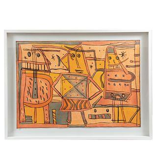 SERGIO HERNÁNDEZ. Constructivismo.  Xilografía. Firmado. Impreso en el taller de Fernando Sandoval, Oaxaca.  Enmarcado.