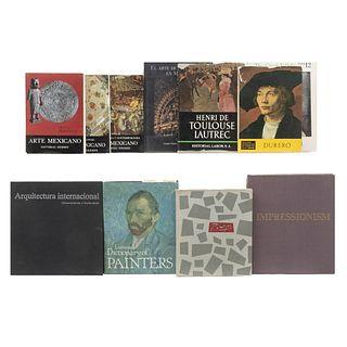 Lote de libros sobre Arte Méxicano, clásico, moderno y Arquitectura contemporánea. a) Historia General del Arte Mexicano.Pzs: 11.