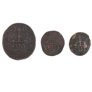 """Morelos y Pavón, José María. 2 y 8 Reales """"SUD"""". México 1812. Monedas en cobre. Anverso: Monograma de Morelos """"8. R. 1814"""". """"2. R. 1812"""