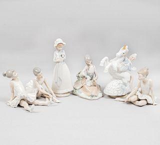 Lote de 6 figuras decorativas. España y Taiwan, SXX. Elaboradas en porcelana NAO, Lladró y otra. Acabado brillante. Piezas: 6