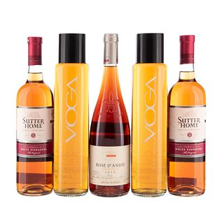 Vinos Blancos y Rosados de Italia, Francia y U.S.A. a) Voga. b) Sutter home. c) Rosé D'Anjou. Total de piezas: 5.