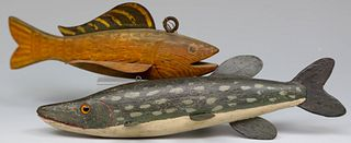 Two Carved and Painted Fish Decoys