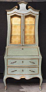 Italian Rococo Painted Secretary Bookcase
