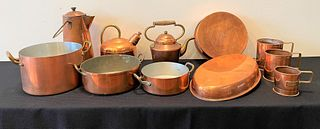 11 Piece Copper Cooking Articles & Cider Mugs