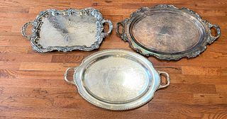 Large Antique Silver Plate Serving Trays