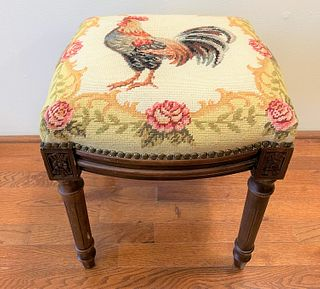Needle Point Stool Rooster
