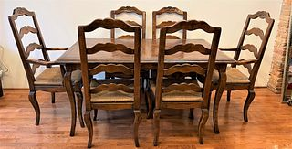 Country French Dining Room Table with Rush Seats