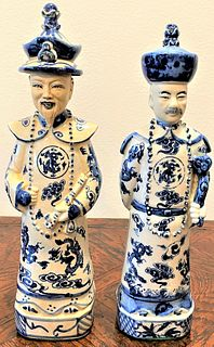 2 Blue & White Chines Male Figurines