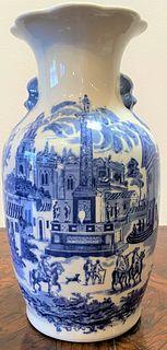 Blue & White Ironstone Vase