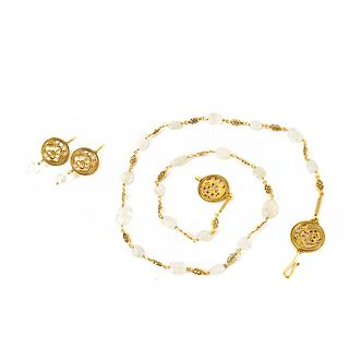 MMA Quartz and Vermeil Necklace and Earrings