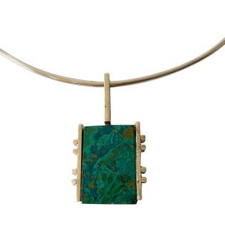 Graziella Laffi Sterling Silver Malachite Peruvian Modernist Pendant Necklace