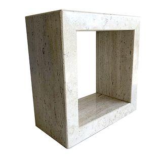 Travertine Marble Open Cube Form Sculpture Pedestal
